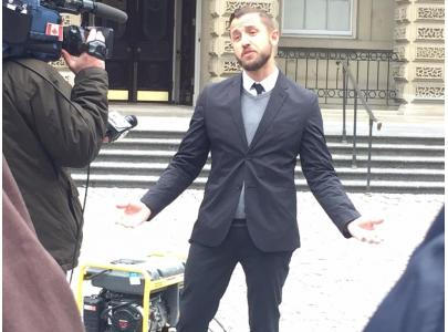 Vice Media reporter Ben Makuch addresses media and supporters outside Osgoode Hall on Monday, Feb 6, 2017.  Credit: Emina Gamulin/Local 87-M