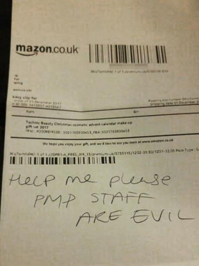 Help Me Note Tucked Into Amazon Package Calls Out Uk Staffing