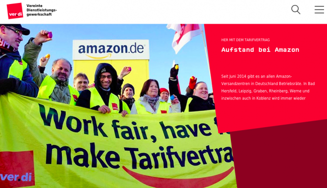 A screenshot from the German labour union Verdi's website concerning strike actions they are organizing at Amazon.
