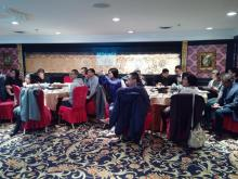 Chinese media and labour activists attend a luncheon for the launch of the Chinese Workers' Podcast